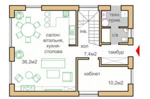 КГ Oklahoma Cottage Town: планировка 1-комнатной квартиры 125.5 м²