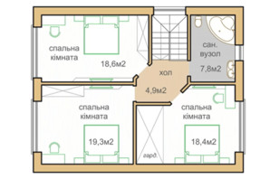 КГ Oklahoma Cottage Town: планировка 1-комнатной квартиры 142.7 м²