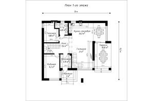 КГ Орион - 2: планировка 5-комнатной квартиры 185 м²