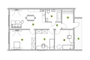 КГ Семь озер: планировка 3-комнатной квартиры 80 м²