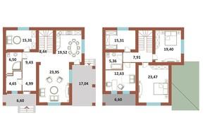 КГ Вышгородская Брама: планировка 4-комнатной квартиры 180 м²
