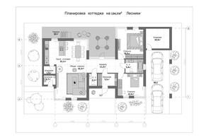КМ 9 Елементів: планування 4-кімнатної квартири 134.5 м²