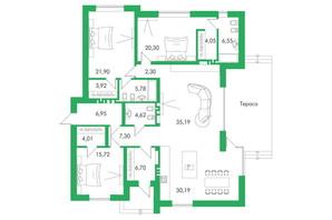 КМ Белгравія: планування 3-кімнатної квартири 175 м²