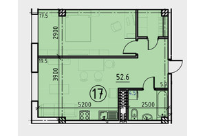 Клубний будинок BEZALEL: планування 1-кімнатної квартири 52.6 м²