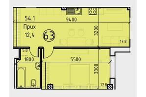 Клубний будинок BEZALEL: планування 1-кімнатної квартири 54.1 м²