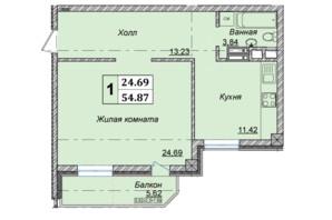 Клубний будинок вул. Малевича 48: планування 1-кімнатної квартири 54.87 м²