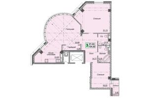 Клубний будинок вул. Малевича 48: планування 3-кімнатної квартири 124.52 м²