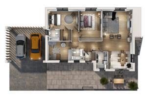 Коттеджный городок Vivere: планировка 3-комнатной квартиры 121 м²