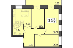 Квартал Енергія: планировка 3-комнатной квартиры 86.3 м²