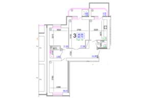 Мікрорайон Академічний: планування 3-кімнатної квартири 83.73 м²