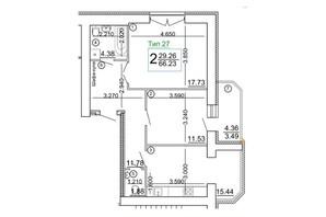 Мікрорайон Академічний: планування 2-кімнатної квартири 66.02 м²