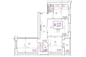 Мікрорайон Поділля: планування 3-кімнатної квартири 89.47 м²