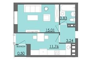 Мікрорайон Родинна Казка: планування 1-кімнатної квартири 34 м²