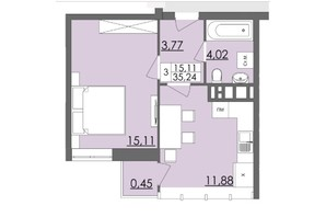 Мікрорайон Родинна Казка: планування 1-кімнатної квартири 35.24 м²