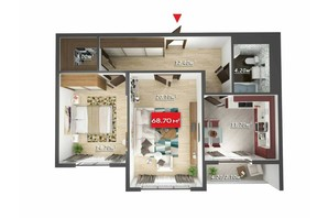Мікрорайон Зоряний: планування 2-кімнатної квартири 68.7 м²
