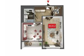 Микрорайон Микрорайон Звёздный: планировка 1-комнатной квартиры 48.2 м²