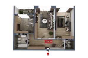 Микрорайон Микрорайон Звёздный: планировка 2-комнатной квартиры 75.8 м²