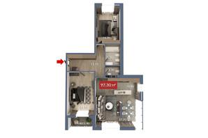 Микрорайон Микрорайон Звёздный: планировка 3-комнатной квартиры 97.5 м²