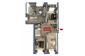 Микрорайон Микрорайон Звёздный: планировка 4-комнатной квартиры 126.4 м²