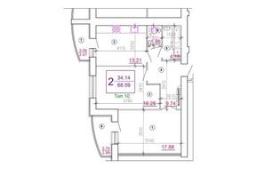Микрорайон Подолье: планировка 2-комнатной квартиры 69.82 м²