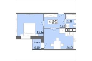 Микрорайон Родинна Казка: планировка 1-комнатной квартиры 41.4 м²