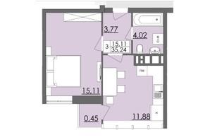 Микрорайон Родинна Казка: планировка 1-комнатной квартиры 35.24 м²