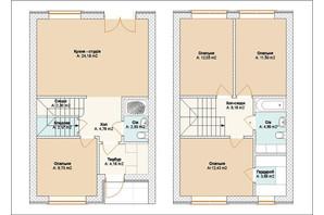 Таунхаус Brighton Town: планировка 4-комнатной квартиры 105 м²