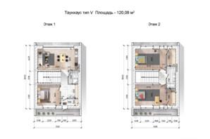 Таунхаус Comfort City Lagoon: планировка 4-комнатной квартиры 120.08 м²