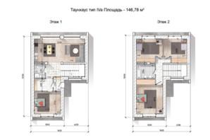 Таунхаус Comfort City Lagoon: планування 4-кімнатної квартири 146.78 м²