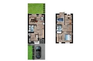 Таунхаус Долішній: планировка 3-комнатной квартиры 99 м²