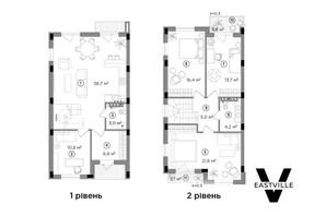 Таунхаус Eastville: планування 3-кімнатної квартири 122 м²