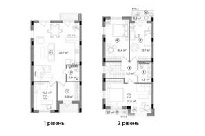 Таунхаус Eastville: планування 3-кімнатної квартири 121.9 м²