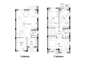 Таунхаус Eastville: планировка 3-комнатной квартиры 121.9 м²