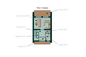 Таунхаус Green Wall: планування 2-кімнатної квартири 144 м²