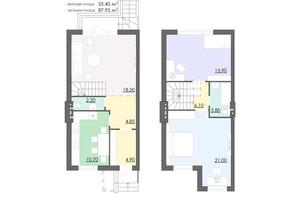 Таунхаус Мальованка: планування 3-кімнатної квартири 87.95 м²