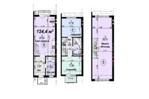 Таунхаус Мануфактура: планировка 3-комнатной квартиры 124.4 м²