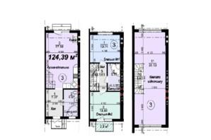 Таунхаус Мануфактура: планування 3-кімнатної квартири 124.39 м²