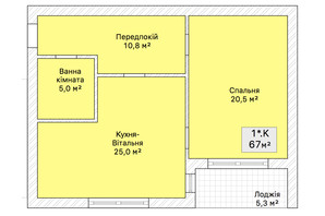Таунхаус «На Трамвайной»: планировка 1-комнатной квартиры 67 м²