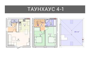 Таунхаус Плюс: планування 3-кімнатної квартири 100 м²
