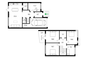 Таунхаус Sherwood: планировка 4-комнатной квартиры 158 м²