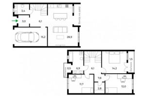 Таунхаус Sherwood: планировка 3-комнатной квартиры 122 м²