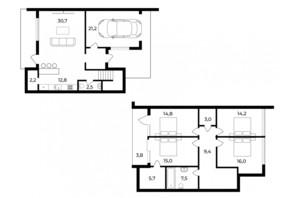 Таунхаус Sherwood: планировка 4-комнатной квартиры 163 м²