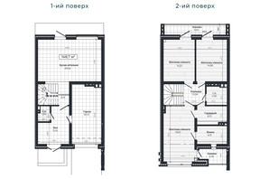Таунхаус Vodogray Emerald (Водограй Емеральд): планування 3-кімнатної квартири 148.7 м²
