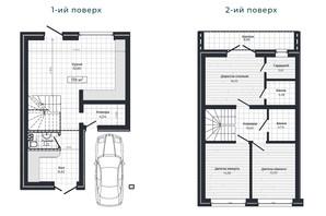 Таунхаус Vodogray Emerald (Водограй Емеральд): планування 3-кімнатної квартири 119 м²