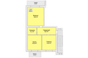 Таунхаус ул. Ляли Ратушной: планировка 2-комнатной квартиры 64 м²