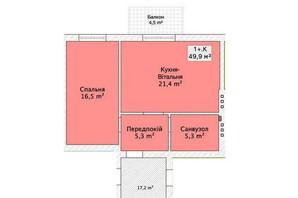 Таунхаус ул. Шевченка/переулок Сквозной: планировка 1-комнатной квартиры 49.99 м²