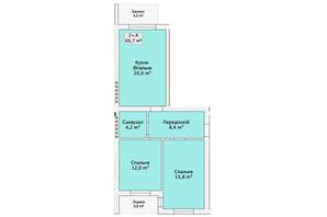 Таунхаус ул. Шевченка/переулок Сквозной: планировка 2-комнатной квартиры 65.7 м²