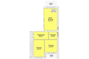 Таунхаус ул. Шевченка/переулок Сквозной: планировка 2-комнатной квартиры 67.2 м²