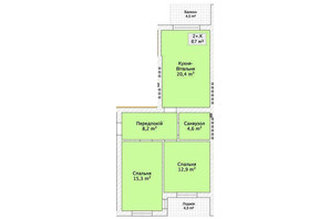 Таунхаус ул. Шевченка/переулок Сквозной: планировка 2-комнатной квартиры 67 м²