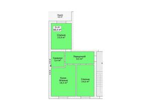 Таунхаус ул. Шевченка/переулок Сквозной: планировка 2-комнатной квартиры 68.4 м²